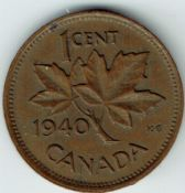 Canada, George VI, One Cent 1940, VF, WB6139